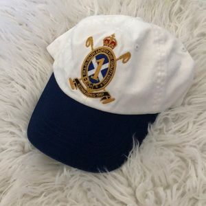 White polo Ralph Lauren rare leather buckle hat